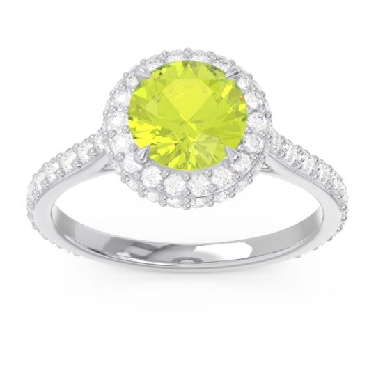 Peridot Halo Cathedral Pave Kataha Ring with Diamond in 14k White Gold