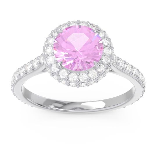 Pink Tourmaline Halo Cathedral Pave Kataha Ring with Diamond in 14k White Gold
