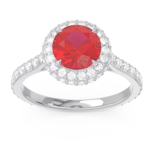 Ruby Halo Cathedral Pave Kataha Ring with Diamond in 14k White Gold