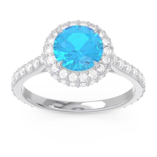 Swiss Blue Topaz Halo Cathedral Pave Kataha Ring with Diamond in 14k White Gold