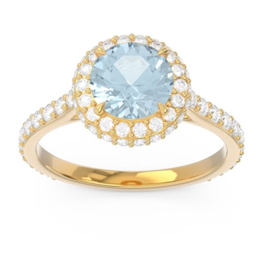 Aquamarine Halo Cathedral Pave Kataha Ring with Diamond in 18k Yellow Gold