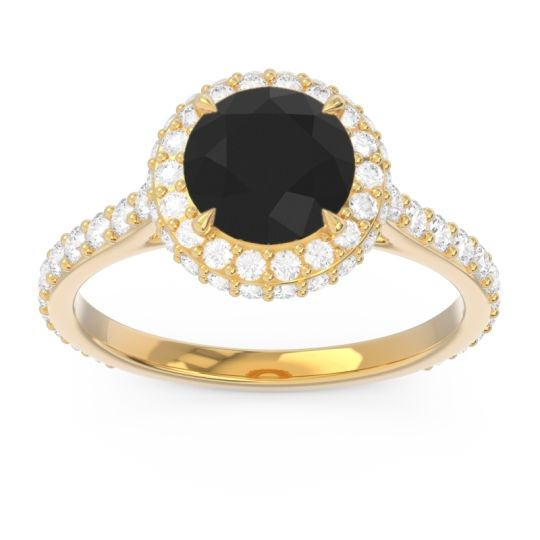 Black Onyx Halo Cathedral Pave Kataha Ring with Diamond in 18k Yellow Gold