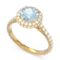 Halo Cathedral Pave Kataha Aquamarine Ring with Diamond in 18k Yellow Gold