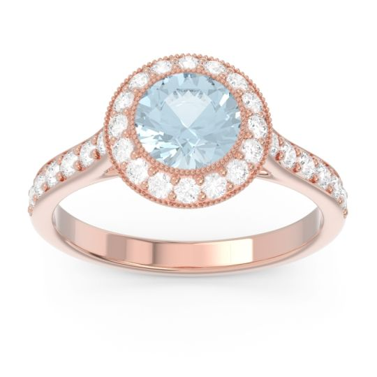 Halo Bezel Pave Paksman Aquamarine Ring with Diamond in 14K Rose Gold