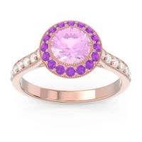 Pink Tourmaline Halo Bezel Pave Paksman Ring with Amethyst and Diamond in 14K Rose Gold