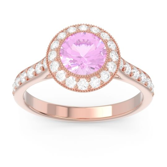 Pink Tourmaline Halo Bezel Pave Paksman Ring with Diamond in 14K Rose Gold
