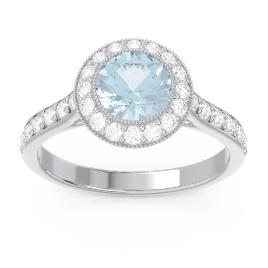 Aquamarine Halo Bezel Pave Paksman Ring with Diamond in Platinum