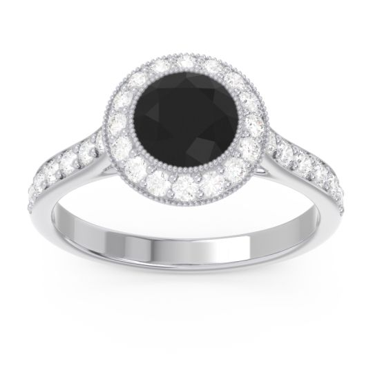 Black Onyx Halo Bezel Pave Paksman Ring with Diamond in 18k White Gold