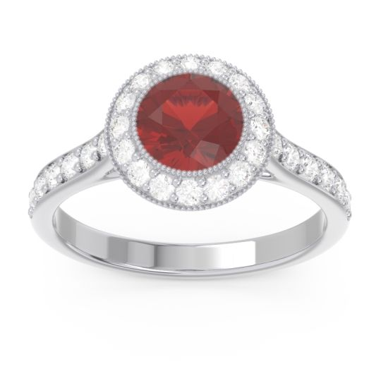 Garnet Halo Bezel Pave Paksman Ring with Diamond in Platinum