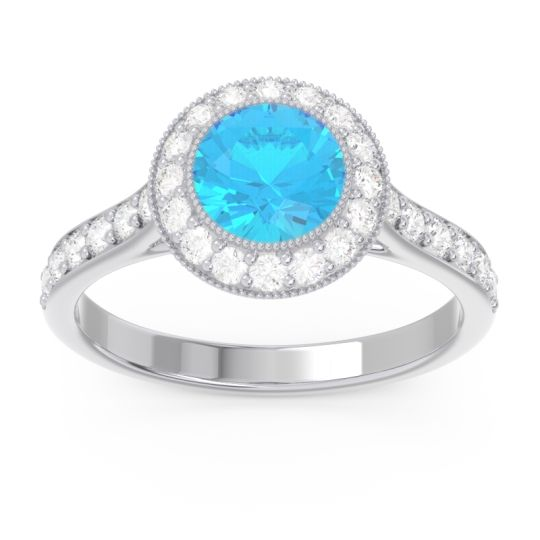 Halo Bezel Pave Paksman Swiss Blue Topaz Ring with Diamond in 18k White Gold