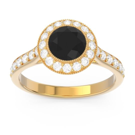 Black Onyx Halo Bezel Pave Paksman Ring with Diamond in 18k Yellow Gold