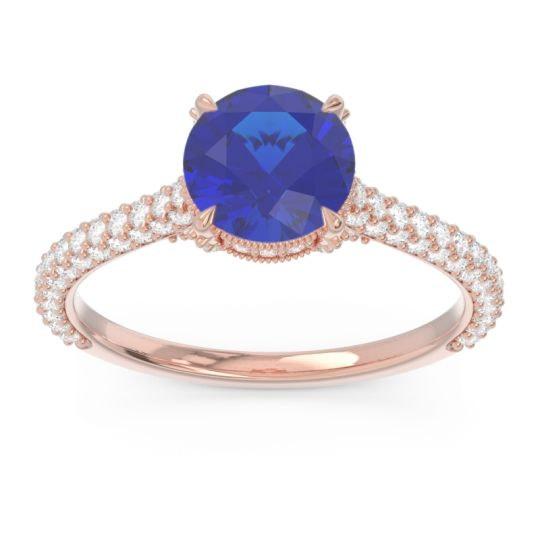 Cathedral Pave Pindala Blue Sapphire Ring with Diamond in 14K Rose Gold