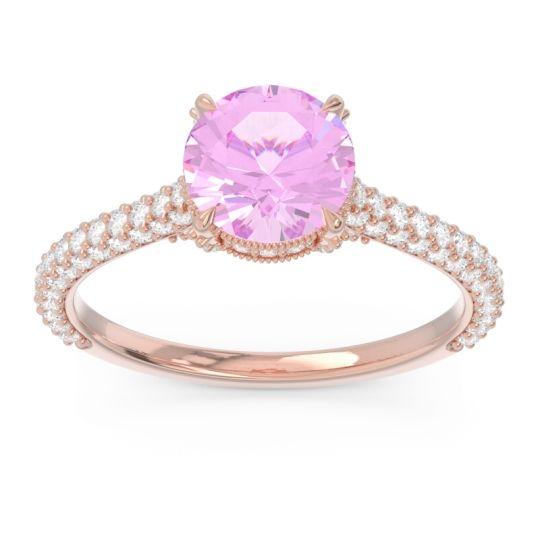 Pink Tourmaline Cathedral Pave Pindala Ring with Diamond in 14K Rose Gold