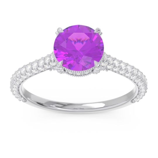 Cathedral Pave Pindala Amethyst Ring with Diamond in 14k White Gold
