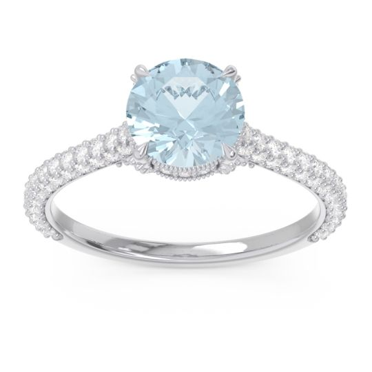 Aquamarine Cathedral Pave Pindala Ring with Diamond in Platinum