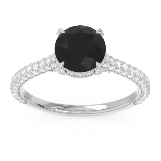 Black Onyx Cathedral Pave Pindala Ring with Diamond in 18k White Gold