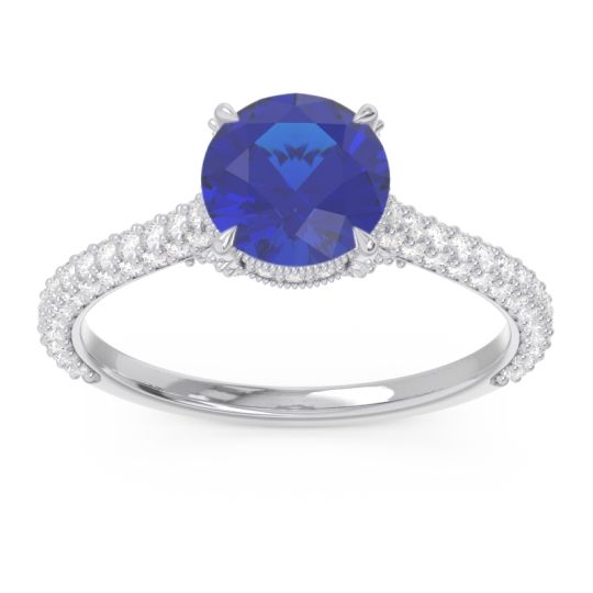 Cathedral Pave Pindala Blue Sapphire Ring with Diamond in 14k White Gold