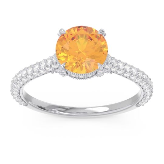 Cathedral Pave Pindala Citrine Ring with Diamond in 14k White Gold