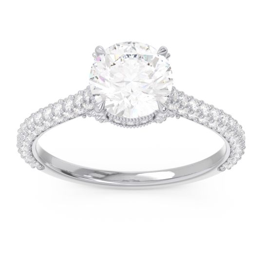 Cathedral Pave Pindala Diamond Ring in 14k White Gold