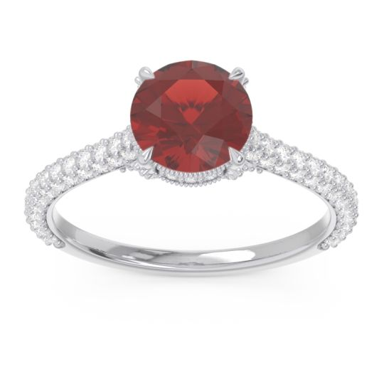 Garnet Cathedral Pave Pindala Ring with Diamond in 18k White Gold