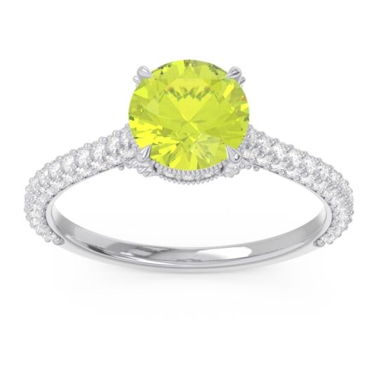 Cathedral Pave Pindala Peridot Ring with Diamond in 14k White Gold