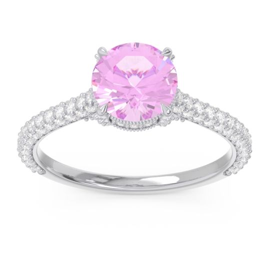 Cathedral Pave Pindala Pink Tourmaline Ring with Diamond in 14k White Gold