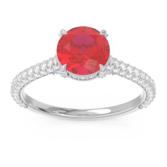 Cathedral Pave Pindala Ruby Ring with Diamond in 14k White Gold