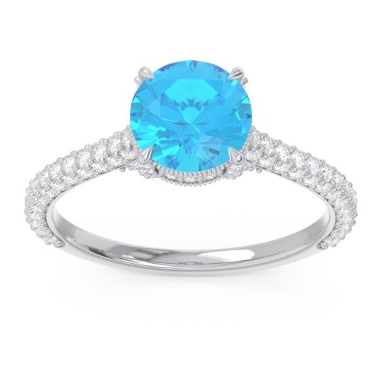 Swiss Blue Topaz Cathedral Pave Pindala Ring with Diamond in 14k White Gold