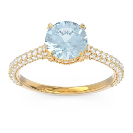 Aquamarine Cathedral Pave Pindala Ring with Diamond in 18k Yellow Gold