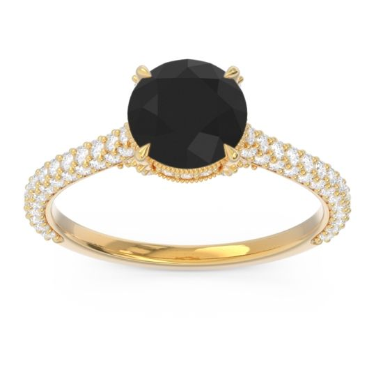 Black Onyx Cathedral Pave Pindala Ring with Diamond in 18k Yellow Gold