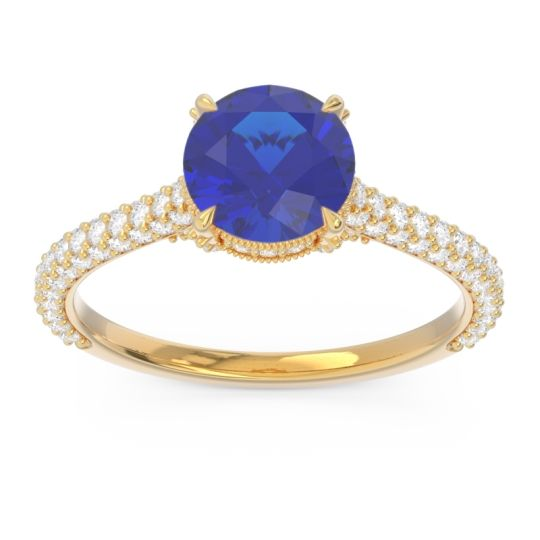 Cathedral Pave Pindala Blue Sapphire Ring with Diamond in 14k Yellow Gold