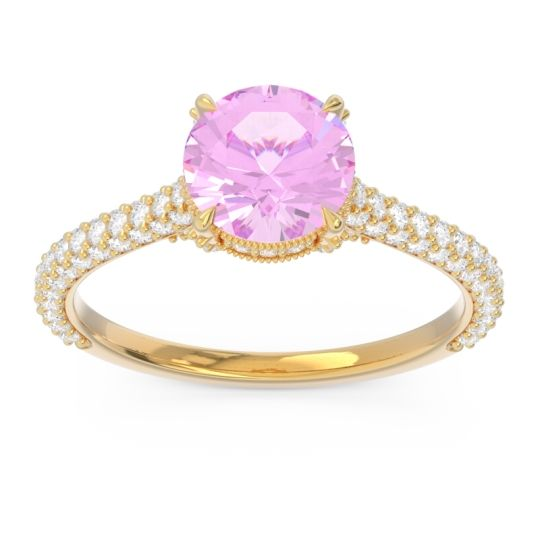 Pink Tourmaline Cathedral Pave Pindala Ring with Diamond in 14k Yellow Gold