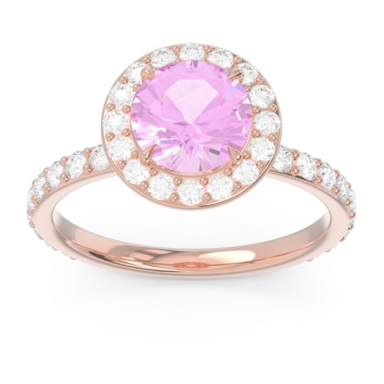 Pink Tourmaline Halo Pave Attala Ring with Diamond in 14K Rose Gold