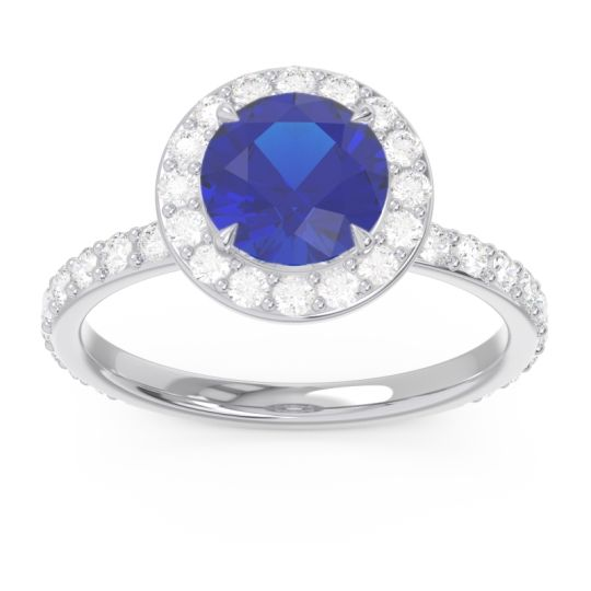 Halo Pave Attala Blue Sapphire Ring with Diamond in 14k White Gold