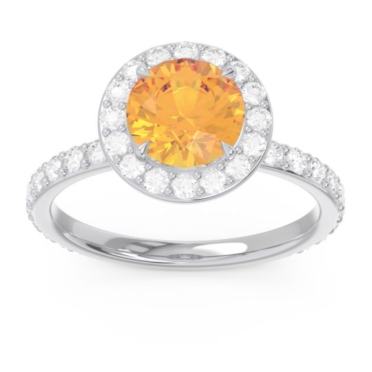 Halo Pave Attala Citrine Ring with Diamond in 14k White Gold