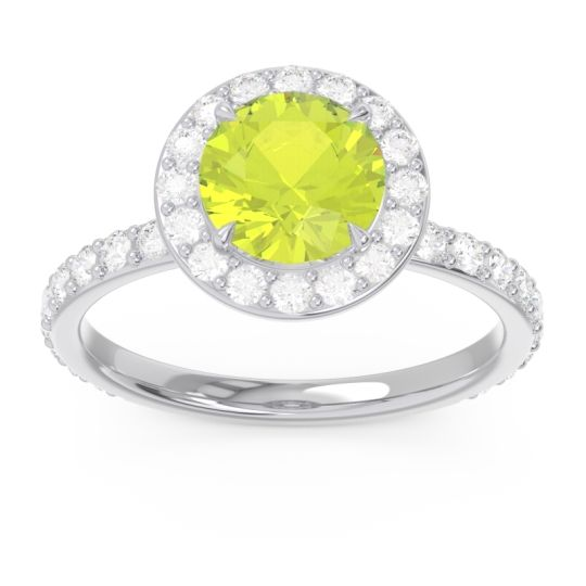 Halo Pave Attala Peridot Ring with Diamond in 14k White Gold