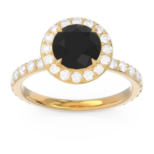 Black Onyx Halo Pave Attala Ring with Diamond in 18k Yellow Gold