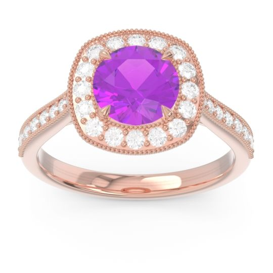 Halo Pave Milgrain Drumara Amethyst Ring with Diamond in 14K Rose Gold