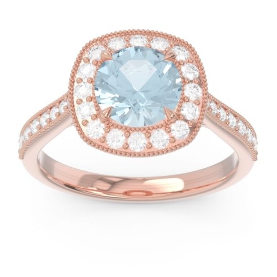 Aquamarine Halo Pave Milgrain Drumara Ring with Diamond in 14K Rose Gold