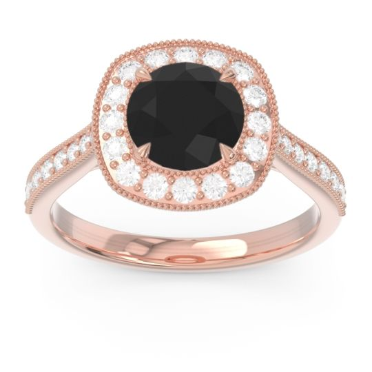 Halo Pave Milgrain Drumara Black Onyx Ring with Diamond in 14K Rose Gold