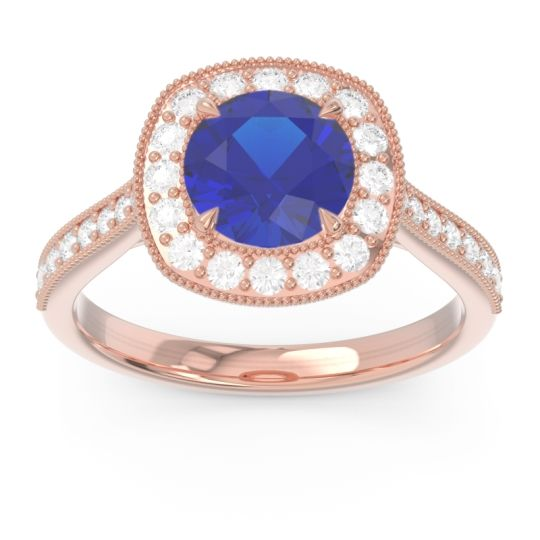 Halo Pave Milgrain Drumara Blue Sapphire Ring with Diamond in 14K Rose Gold