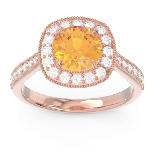 Halo Pave Milgrain Drumara Citrine Ring with Diamond in 14K Rose Gold