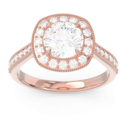 Halo Pave Milgrain Drumara Diamond Ring in 14K Rose Gold