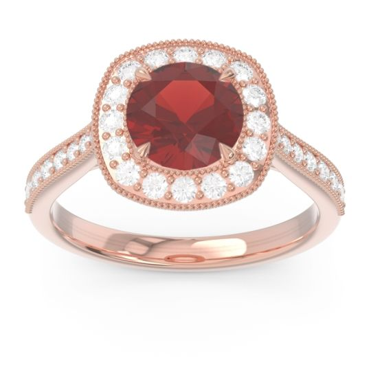 Halo Pave Milgrain Drumara Garnet Ring with Diamond in 18K Rose Gold