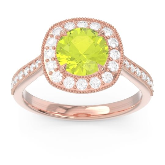 Halo Pave Milgrain Drumara Peridot Ring with Diamond in 14K Rose Gold