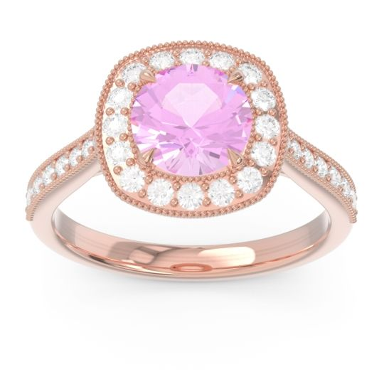 Halo Pave Milgrain Drumara Pink Tourmaline Ring with Diamond in 14K Rose Gold