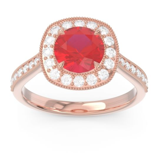 Halo Pave Milgrain Drumara Ruby Ring with Diamond in 14K Rose Gold