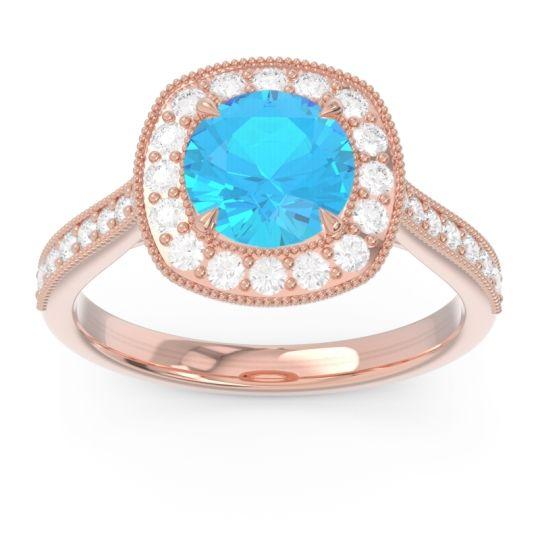 Halo Pave Milgrain Drumara Swiss Blue Topaz Ring with Diamond in 14K Rose Gold