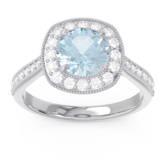 Aquamarine Halo Bezel Pave Paksman Ring with Diamond in Platinum