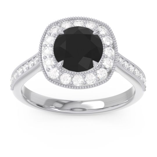 Black Onyx Halo Bezel Pave Paksman Ring with Diamond in 18k White Gold
